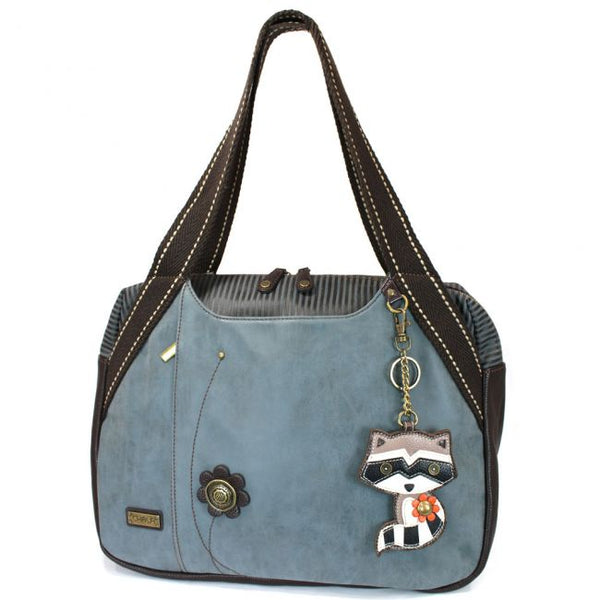 CHALA Bowling Bag Indigo Blue with Raccoon Handbag Purse