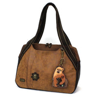 CHALA Bowling Bag Momma Bear with Cub Brown Handbag Purse