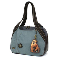 CHALA Bowling Bag Momma Bear with Cub Indigo Blue Handbag Purse
