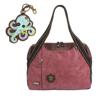 CHALA Bowling Bag Octopus Handbag Burgundy Purse | Enchanted Memories