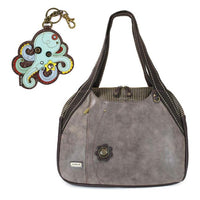 CHALA Bowling Bag Octopus Handbag Stone Gray Purse | Enchanted Memories