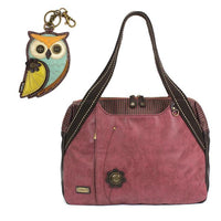 CHALA Bowling Bag Owl Handbag Animal Theme Owl Purse Burgundy
