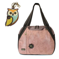 CHALA Bowling Bag Owl Handbag Animal Theme Owl Purse Dusty Rose