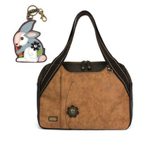 CHALA Bowling Bag Rabbit Handbag Brown Animal Lovers Purse
