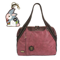 CHALA Bowling Bag Rabbit Handbag Burgundy Animal Lovers Purse