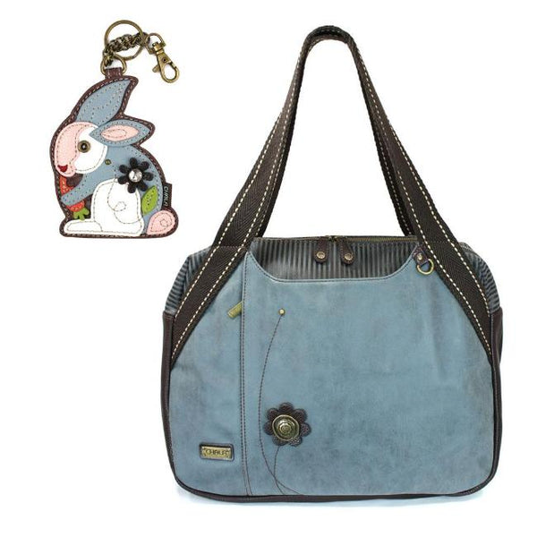 CHALA Bowling Bag Rabbit Handbag Indigo Blue Animal Lovers Purse