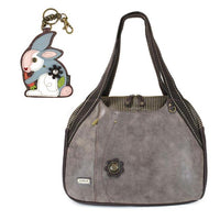 CHALA Bowling Bag Rabbit Handbag Stone Gray Animal Lovers Purse