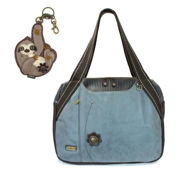 CHALA Bowling Bag Sloth Handbag Animal Theme Purse Indigo Blue