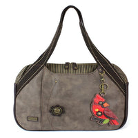 CHALA Bowling Bag Stone Gray Cardinal Handbag Red Bird Purse