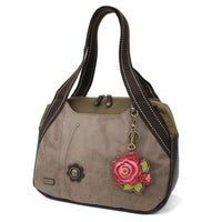 CHALA Bowling Bag Stone Gray with Red Rose Handbag Purse