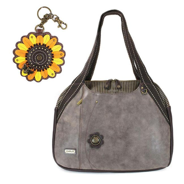 CHALA Bowling Bag Sunflower Handbag Animal Theme Purse Flower Stone Gray
