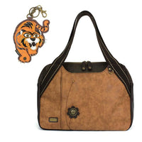 CHALA Bowling Bag Tiger Handbag Animal Theme Mascot Purse Brown
