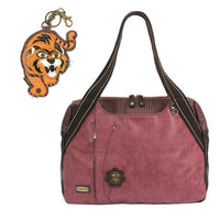 CHALA Bowling Bag Tiger Handbag Animal Theme Mascot Purse Burgundy