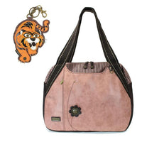 CHALA Bowling Bag Tiger Handbag Animal Theme Mascot Purse Dusty Rose