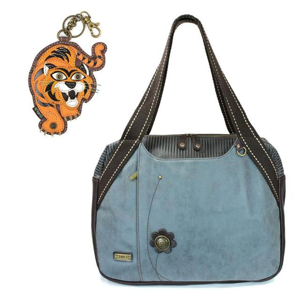 CHALA Bowling Bag Tiger Handbag Animal Theme Mascot Purse Indigo Blue