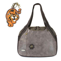 CHALA Bowling Bag Tiger Handbag Animal Theme Mascot Purse Stone Gray
