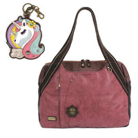 CHALA Bowling Bag Unicorn Handbag Animal Theme Purse Burgundy