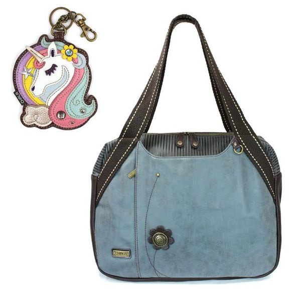 CHALA Bowling Bag Unicorn Handbag Animal Theme Purse Indigo Blue