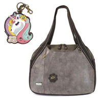 CHALA Bowling Bag Unicorn Handbag Animal Theme Purse Stone Gray