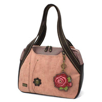 CHALA Bowling Bag with Red Rose Handbag Purse Dusty Rose