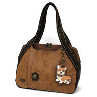 CHALA Brown Bowling Bag Corgi Dog Handbag Purse Animal Theme Shoulder Bag