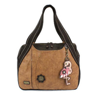 CHALA Brown Flamingo Handbag Animal Theme Handbag Purse