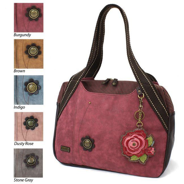 CHALA Burgundy Bowling Bag with Red Rose Handbag Purse