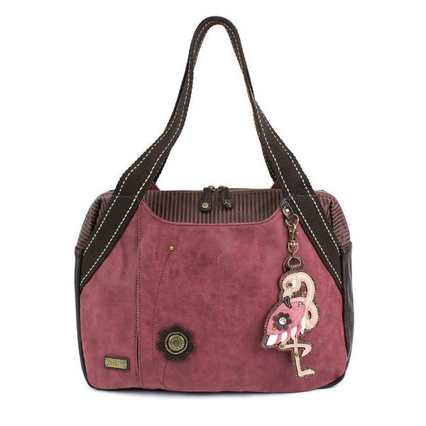 CHALA Burgundy Flamingo Handbag Animal Theme Handbag Purse