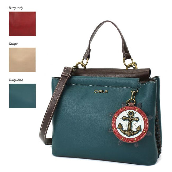 CHALA Charming Satchel Purse with Anchor is the perfect handbag for nautical lovers and those that love the ocean and sea.