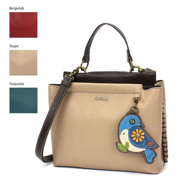 CHALA Charming Satchel Bluebird handbag purse is perfect for all bird lovers and is the perfect gift for those in search for the perfect shoulder bag