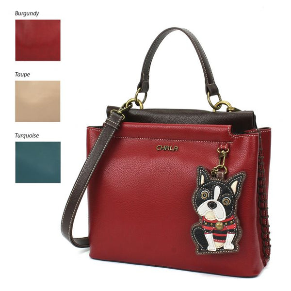 CHALA Charming Satchel Handbag Boston Terrier purse perfect for dog lovers