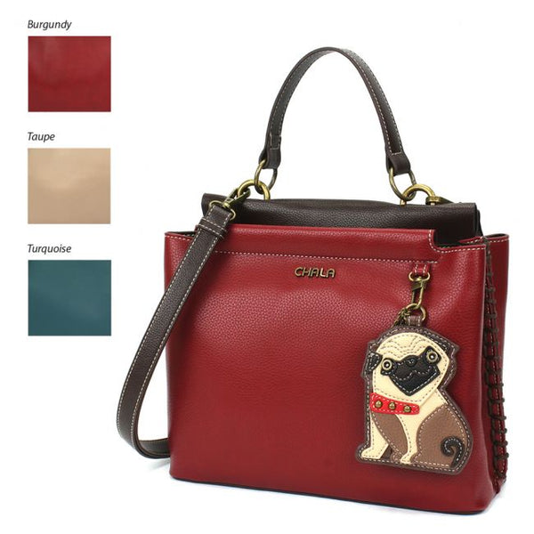 CHALA Charming Satchel Purse Pug Dog Lovers Handbag Dog Lovers Gift