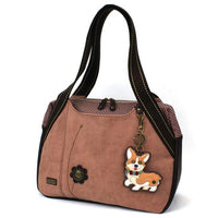 CHALA Corgi Bowling Bag Dusty Rose Handbag with Corgi Dog Purse Animal Themed