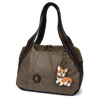 CHALA Corgi Bowling Bag Stone Gray Dog Handbag Purse Animal Themed