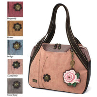 CHALA Dusty Rose Bowling Bag Handbag Purse with Pink Rose