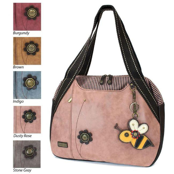 CHALA Dusty Rose Bowling Bag with Bee Handbag Purse