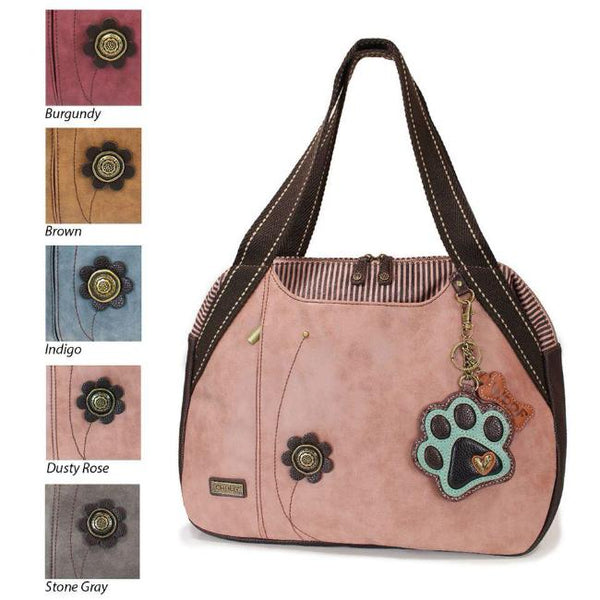 CHALA Dusty Rose Paw Print Bowling Bag Handbag Animal Themed Purse for Dog Lovers