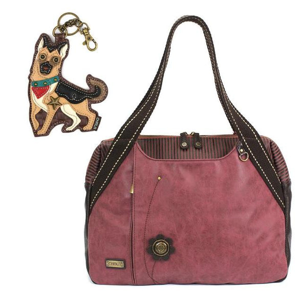CHALA German Shepherd Burgundy Bowling Bag Handbag Animal Themed Purse Dog Lovers
