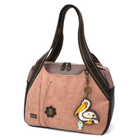 Chala Bowling Bag Dusty Rose Purse Handbag with Pelican