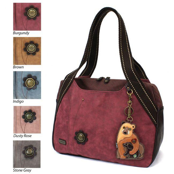 CHALA Handbag Bowling Bag Momma Bear with Cub Burgundy Purse