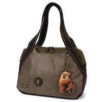 CHALA Handbag Bowling Bag Momma Bear with Cub Stone Gray Handbag Purse