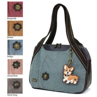 CHALA Indigo Blue Corgi Bowling Bag Handbag Dog Purse Animal Theme
