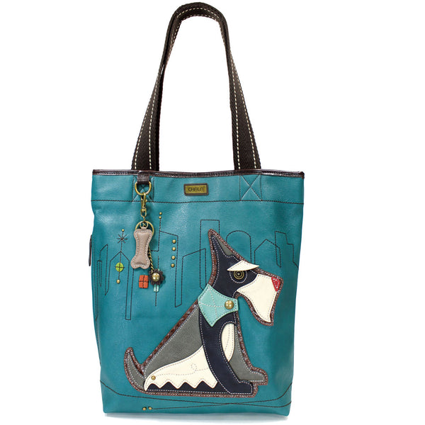 CHALA Schnauzer Tote Bag Turquoise Handbag with Front Pocket for Cell Phone Dog Purse | Enchanted Memories