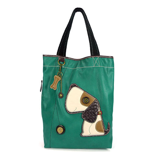 CHALA Toffe Beagle Dog Tote Bag Classic Dog on Green Handbag with Front Pocket for Cell Phone | Enchanted Memories