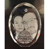 Crystal Remembrance Photo Christmas Ornament the perfect memorial for your loved one. A beautiful sympathy photo gift | Enchanted Memories, Custom Engraving