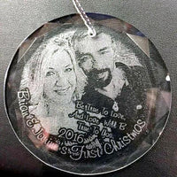 Engraved Crystal Christmas Photo Ornament Wedding Photo for Newlyweds or Anniversary | Enchanted Memories, Custom Engraving