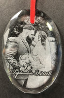 Engraved Crystal Christmas Ornament Wedding Photo for Newlyweds or Anniversary | Enchanted Memories, Custom Engraving