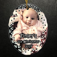 Custom Baby's First Christmas Ornament with Baby Picture Newborn Child Gift for Mom Baby Photo Gift for Grandparent