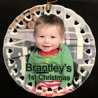Custom Baby's First Christmas Ornament with Picture Newborn Child Gift for Mom Baby Photo Gift for Grandparent