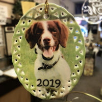 Custom Ceramic Pet Photo Christmas Ornament with Dog Photo Personalized Ornament with Your Pet's Photo | Enchanted Memories, Custom Engraving & Unique Gifts